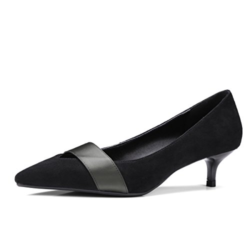 Amende a Black Chaussures Loisirs Profonde Moyens avec Simple Bouche Femmes Sauvages Talons Peu xxO7aPXBqw