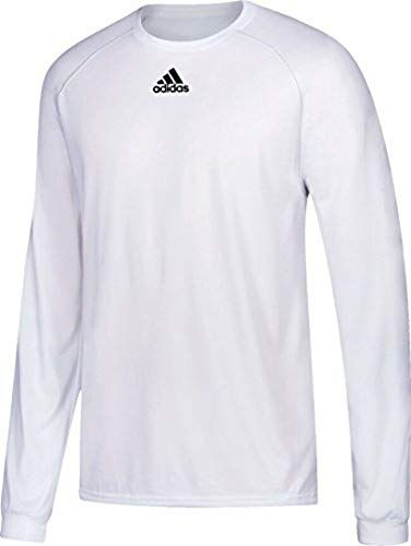 Adidas Mens Climalite Heathered Long Sleeve Shirt (White, Size Large) Adidas Climalite Long Sleeve Jersey