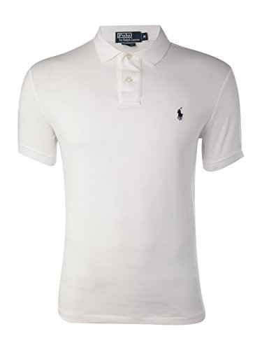 Polo Ralph Lauren Slim Fit Pique Mesh Polo Shirt (White, Small)