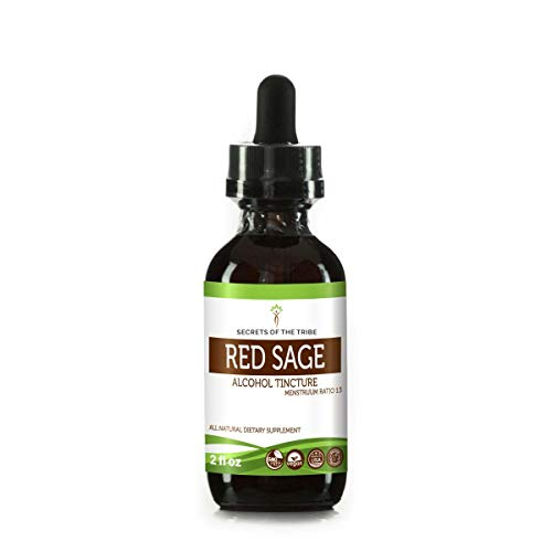 (Red Sage Tincture Alcohol Extract, Organic Red Sage Salvia Miltiorrhiza Promote Cardiovascular Health 2 oz)