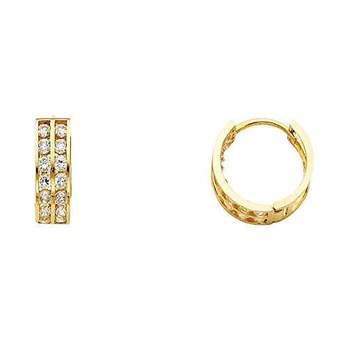 Solid 14k Yellow Gold Huggie Hoops Huggies Earrings Round CZ Two Row Pave Set Polished Small 14 mm (Two Set Pave Row)
