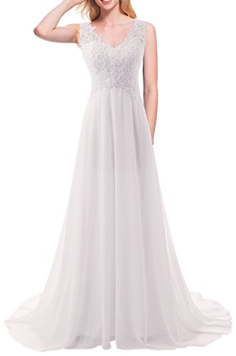 Long Wedding V Bride Gown Bridal Dresses Beach Jaeden For Lace Chiffon Neck White Us20w Dress 8Nmn0w