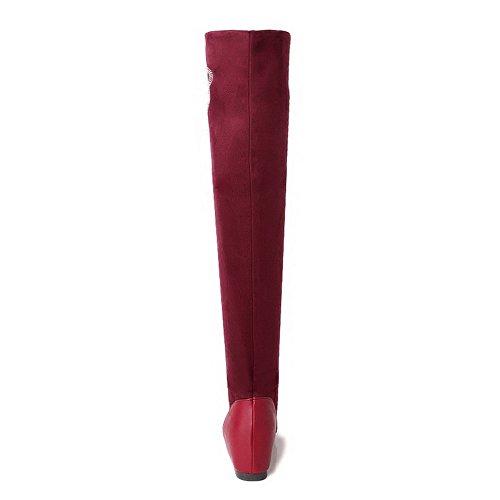 AllhqFashion Mujeres Caña Alta Sin cordones Esmerilado Tacón Medio Puntera Redonda Botas Rojo