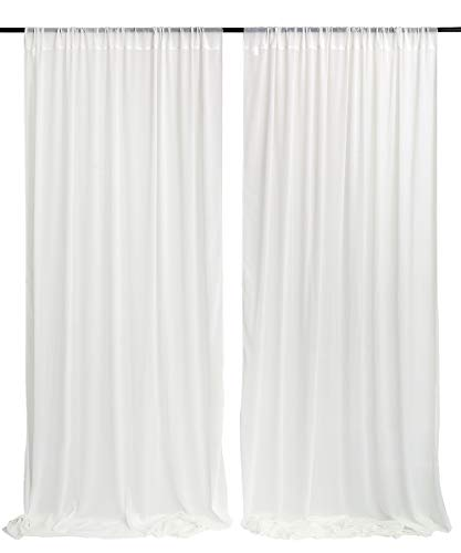 (White Wedding Backdrop Curtain 9.8ft by 10ft Chiffon Fabric Drape for Wedding Party Stage Decoration)