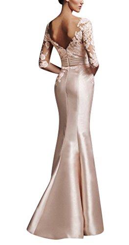 GEORGE BRIDE Elegantes langaermliges Spitze Satinabendkleid reizend Hochzeitskleid dKwPU