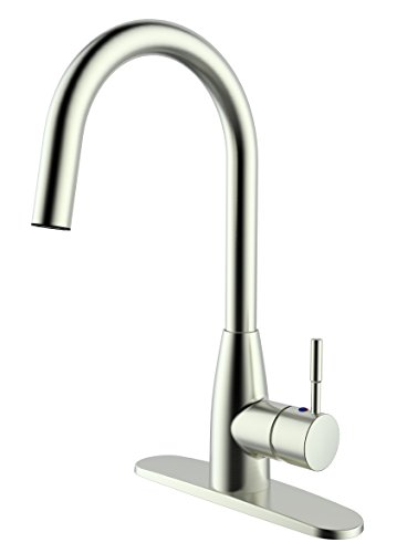 Aquatrend Elegent Kitchen Faucet for Sink,Single Lever,Goose Neck,Strong Water Pressure Water Flow,360 Degree Rotatable,Saving Water,Brushed Nickel