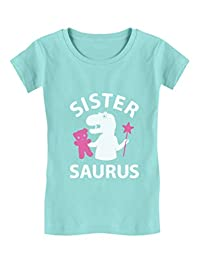 Sister Saurus Gift for Big Sister Girls T-Rex Toddler/Kids Girls' Fitted T-Shirt