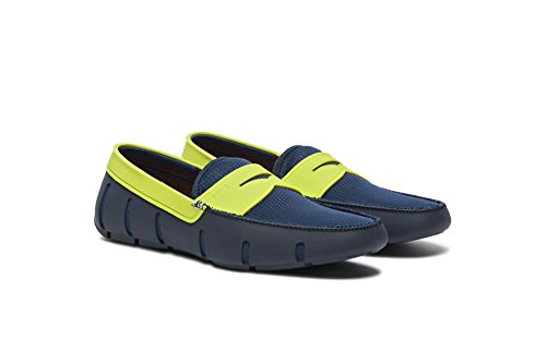 SWIMS Men's Ultralight Penny Loafers, Stylish and Fashionable in Durable and Breathable Mesh Upper, Perfect for Poolside Or Beach Or Any Summer Activities Navy/Green