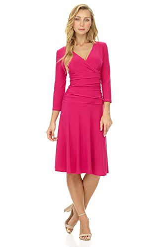 Flare 4 Watermelon Dress 3 Tummy Sleeve Crossover Control Fit Women's Slimming Rekucci and qBnO0tqA