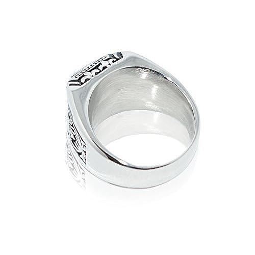 6b8d36805c21 Anillo de acero inoxidable y plata blanca con piedra negra para hombres