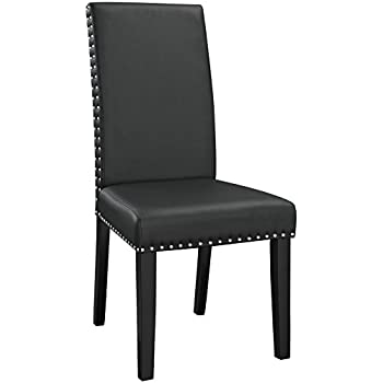 Modway Parcel Modern Upholstered Vinyl Parsons Dining Chair With Polished  Nailhead Trim And Wood Legs In