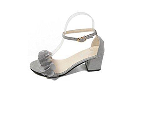 YUCH Las Mujeres Sandalias De Encaje Hueco Solo Zapatos Hasp Gray