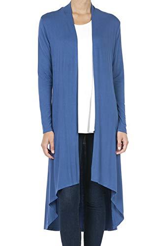 (9033 Women's Long Sleeve Duster High Low Hem Long Open Front Drape Maxi Cardigan Blue XL)