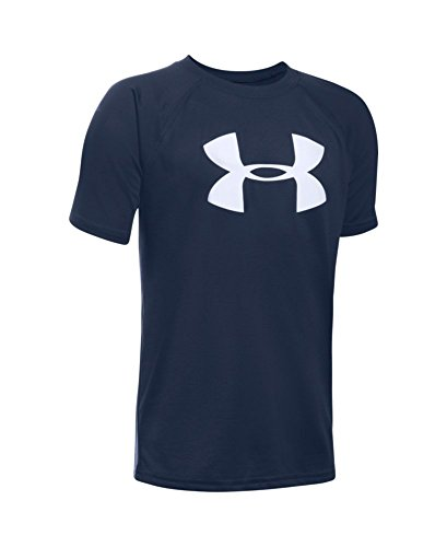 Under Armour Boys' Tech Big Logo Short Sleeve T-Shirt, Midnight Navy/White, Youth Large