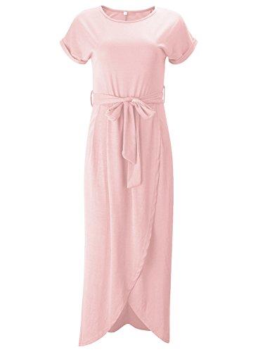 Women's Slit Pink Maxi Belt Short with High Sleeve Solid ACHICGIRL Dress qUdRCq