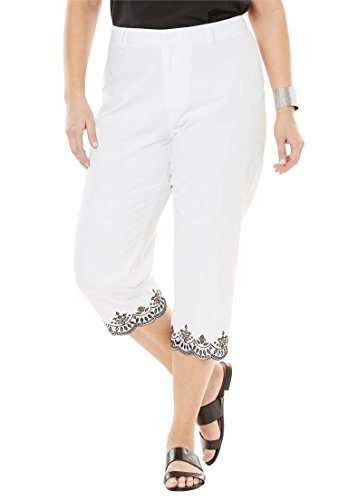 Jessica London Women's Plus Size Poplin Crop Pants Eyelet (Eyelet Crop Pants)