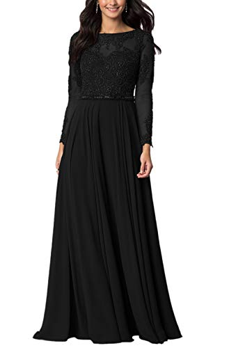 (Aox Women's Vintage Long Sleeve Floral Chiffon High Waist Party Evening Dress Formal Prom Skirt (Small, Black))