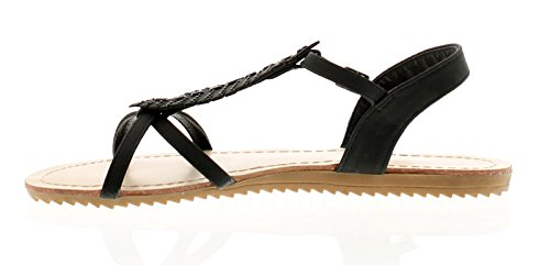 Apache Feather Womens Flat Sandals Black - Black - UK Sizes 3-8 Cqj2Z1