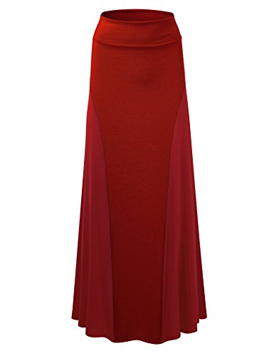 Lock and Love Womens Long Flowy Maxi Skirt with Side Panel Contrast_Made in U.S.A.
