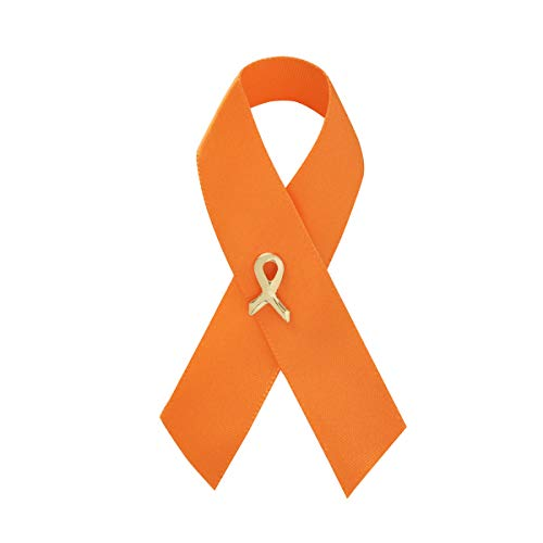 Fundraising For A Cause 5 Pack Orange Satin Ribbon Awareness Pins (5 Pins in a Bag)