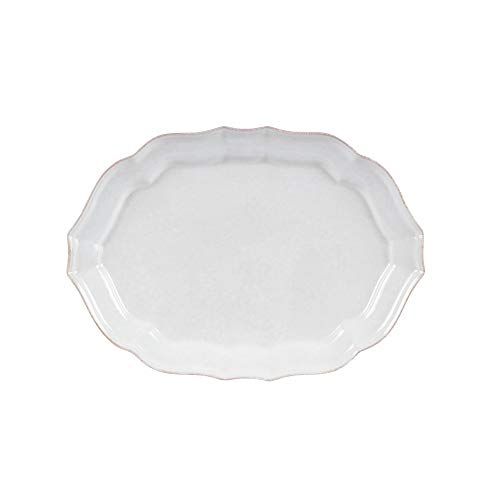Casafina Stoneware Ceramic Impressions Collection Medium Oval Platter 13.75