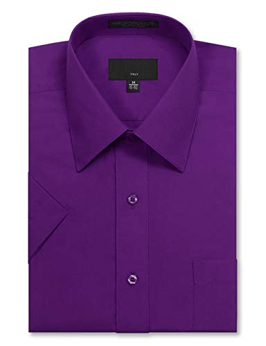 JD Apparel Men's Regular Fit Short Sleeve Dress Shirts 17-17.5N X-Large Purple