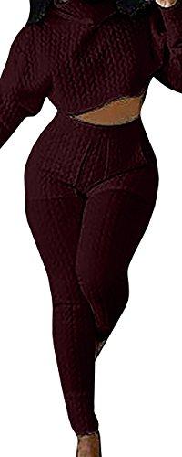 Jiujiuyi Women's Turtleneck Crop Top and Pants Set 2 Piece 2 Piece Knit Outfit