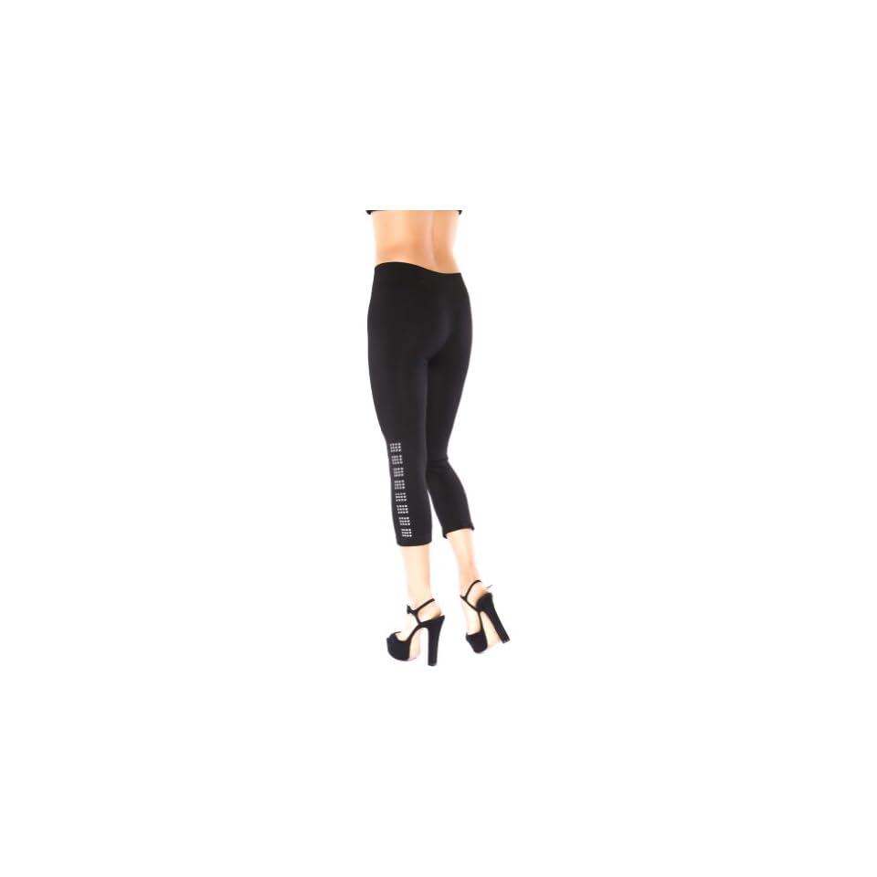 Just One Plus Size Black Seamless Capri Legging with Embellished Bottom (3X)