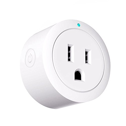 Wifi Outlet Compatible With Alexa,Echo and Google Home, Round Mini Smart Socket Plug,Remote Control Timing Function On/Off Switch for Appliances,10A,White - Foreet Smart Plug