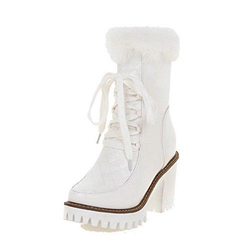 Boots AgooLar Closed Solid White Toe High Women's Round PU Heels Zipper Rz50qfwUzr