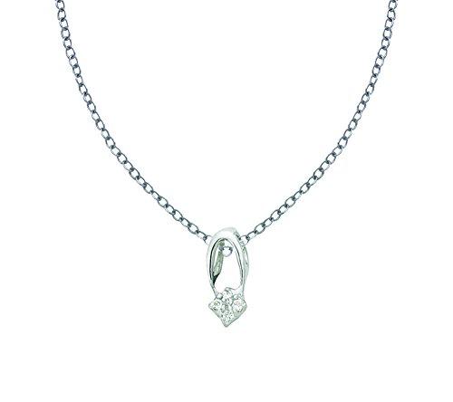 Or Blanc 18 ct Pendentifs Diamant , 0.01 Ct Diamant, GH-SI, 0.19 grammes.