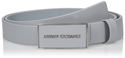 Armani Exchange Men's Saffiano Belt With Logo Rectangle Buckle, Alloy, 34