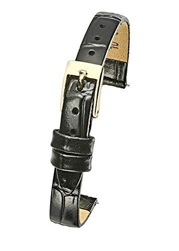 (Genuine Leather Watch Band Strap in Shiny Alligator Grain Finish - 10mm - Black)