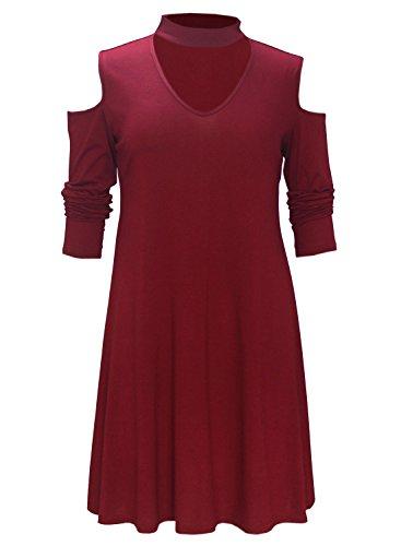 Futurino - Vestido - para mujer rojo vino