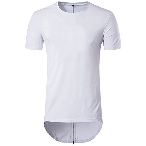 Zipper Back Tee - Cottory Men's Hipster Hip Hop Solid Color Longline Crewneck T-shirt With Behind Zipper White Medium
