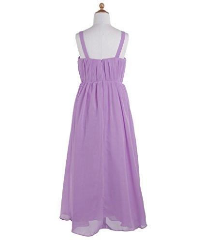 Fashion Plaza Girl's A-line Strap Chiffon Bridesmaid Flower Girl Dress K0116 10 Lilac