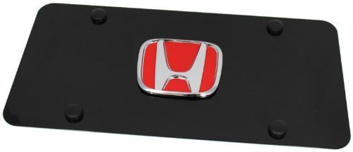 Au-Tomotive Gold, INC. RED Honda Emblem Logo Front License Plate Frame Black Stainless Steel jdm