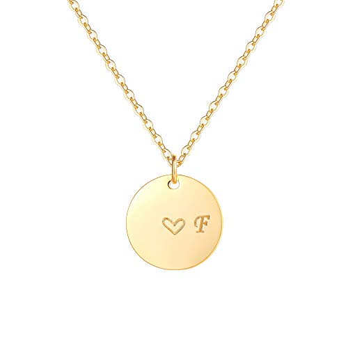 Gold Initial Pendant Necklaces,14K Gold Filled Engraved Disc Personalized Name Dainty Handmade Cute Heart Initial F Tiny Pendant Necklaces Jewelry Gift for Women