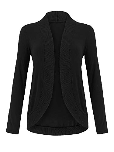 Cocoon Sweater Coat - Spicy Sandia Cocoon Knit Cardigans for Women Slim Long Sleeve Open-Front Cozy Green Cardigan Sweaters, Black, Large