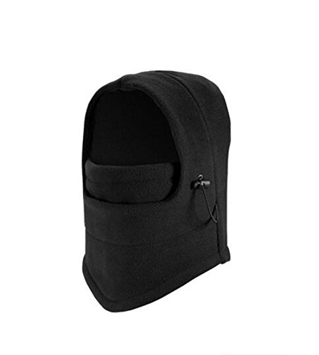 Winter Kids Thermal Fleece Balaclava Hat Ski Bicycle Face Mask Hat Hood (Black)
