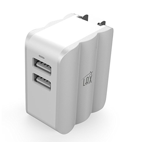 LAX Dual USB AC Power Adapter with Smart iQ Technology - Plug-In Adapter Rapic Charge 3.4A - for iPhone X 8 7 7Plus 6S 6S+, 6 6Plus, iPad Air/Mini, Samsung Galaxy S6, S6 Edge, HTC M9 and More [Silver]