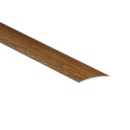 2 Meters 80mm Wide Self-Adhesive Aluminium Wood Effect Transition Strip Cover Door Floor Threshold TMW Profiles (Oak)