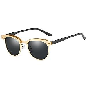 FEIDU Retro Polarized Clubmaster Sunglasses for Men Half Metal Women FD3030(Black/Gold)