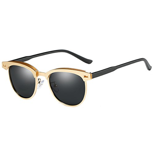FEIDU Retro Polarized Clubmaster Sunglasses for Men Half Metal Women - Black Gold Sunglasses Clubmaster And