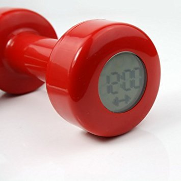 (Novel Creative Red Dumbbell Alarm Clock Shape up 30 Times New)