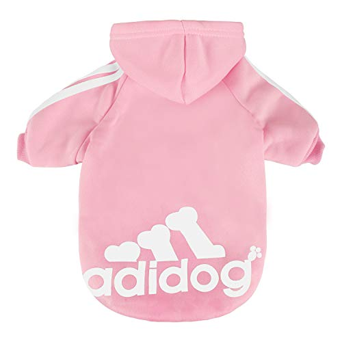 (Scheppend Pet Clothes for Dogs Cats Adidog Hoodie Puppy Kitty Winter Warm Coat Outfit Soft Cozy Sweater Dog Windproof Tracksuit Sweatshirts, S Pink)