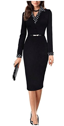Coolred Two Fake Elegent V Black Career Piece Belted Dress Neck Design Women qpn40wrqS