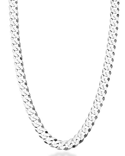 Diamond Link Chain - MiaBella Solid 925 Sterling Silver Italian 7mm Diamond Cut Cuban Link Curb Chain Necklace for Women Men, 16