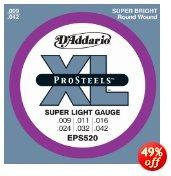 D'Addario EPS520x5 , XL ProSteel, Rnd Wnd, Super Light, .