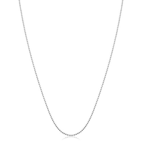 Kooljewelry Sterling Silver Polished Ball Chain Necklace (1 mm, 30 inch) 1mm Bead Chain Necklace